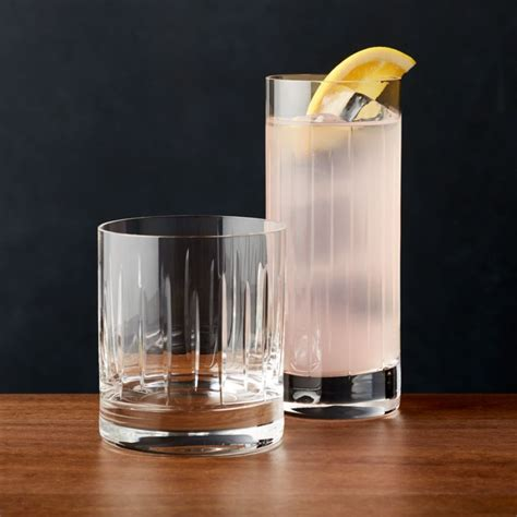 Vance Cut-Glass Drinking Glasses   Crate and Barrel