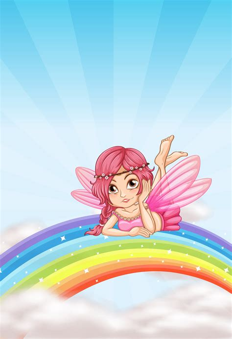 A fairy on the rainbow - Download Free Vectors, Clipart