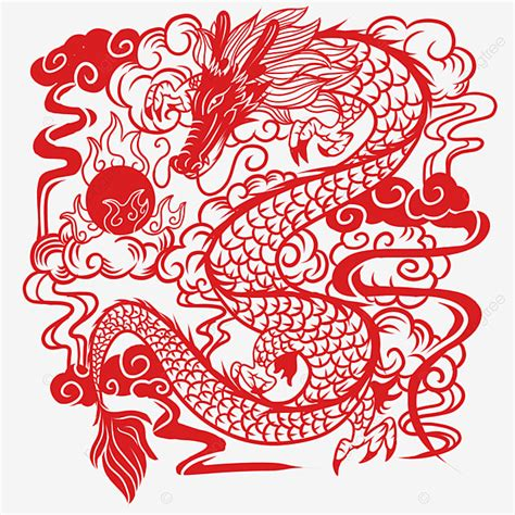 Chinese Paper Cut Dragon, Chinese Vector, Dragon Vector