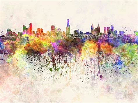 Melbourne skyline in watercolor background Painting by