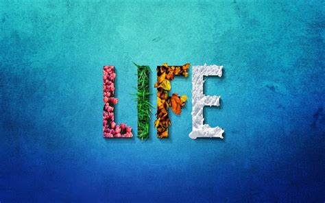 Download wallpapers creative word Life, seasons concepts