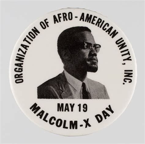 Pinback button promoting Malcolm-X Day | National Museum
