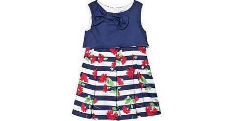 Mayoral Striped Dress with Bow - Navy Blue (29-03923-067