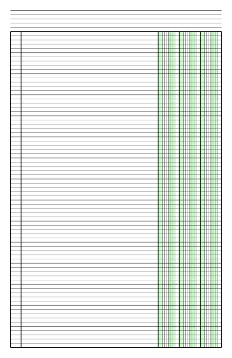 Columnar Paper with Three Columns on Ledger-Sized Paper in