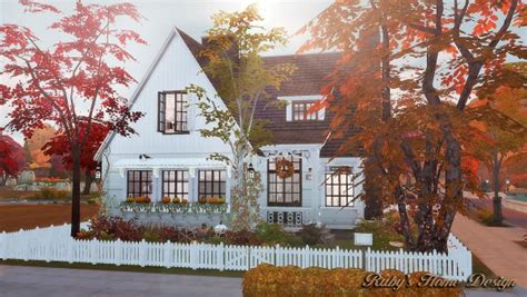 Ruby`s Home Design: Autumn Cottage • Sims 4 Downloads