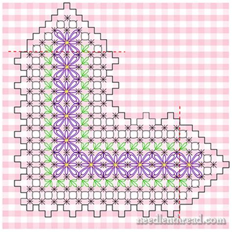 Gingham Embroidery – Free Pattern: Floral Corner