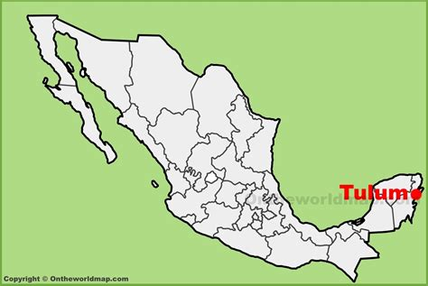 Tulum location on the Mexico map