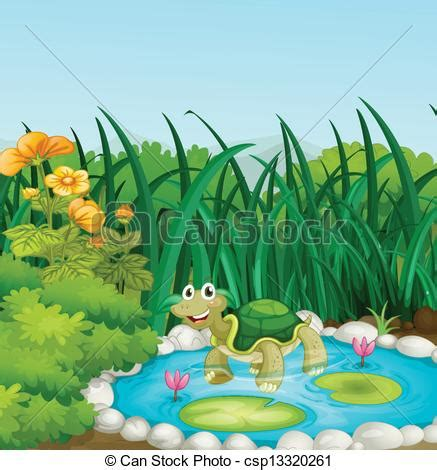 A turtle in the pond with waterlilies