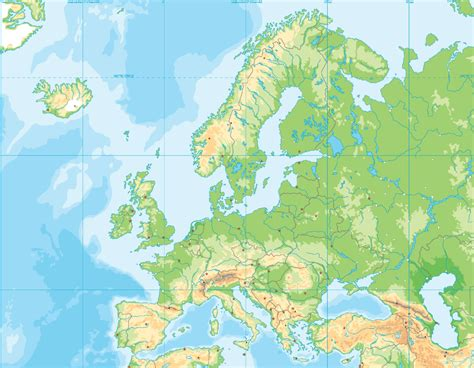Europe physical map (blank) - Map Quiz Game