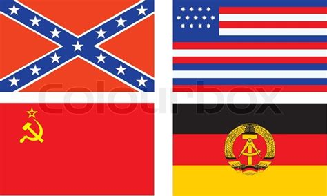 Vector Confederate, old USA, USSR, and DDR flags | Stock
