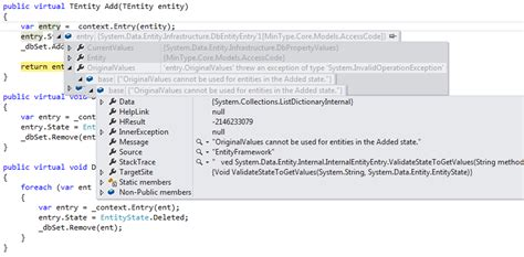 c# - OriginalValues cannot be used for entities in the