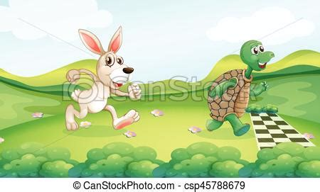 Rabbit and turtle in the race illustration