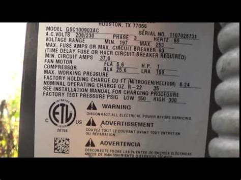 Finding the model , serial number on your condensing unit