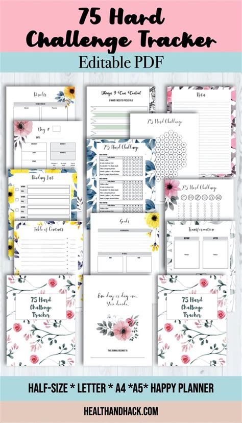 75 Day Hard Challenge Tracker Printable | Workout Planner