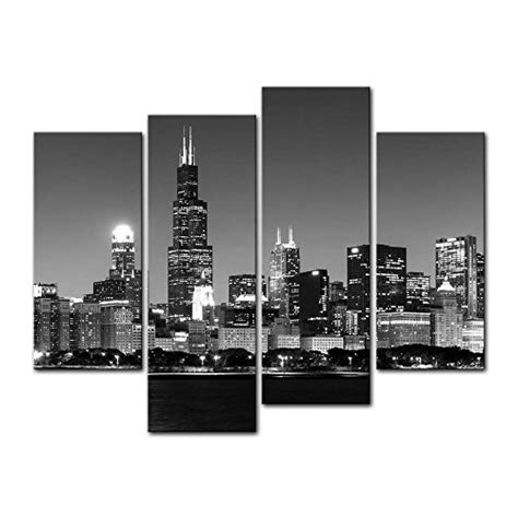 [Framed] Chicago Night View Cityscape Canvas Art Print