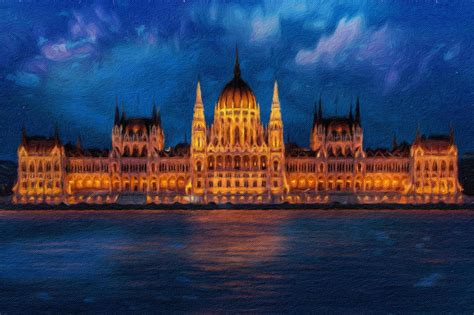 Hungarian Parliament At Night Painting by Vincent Monozlay